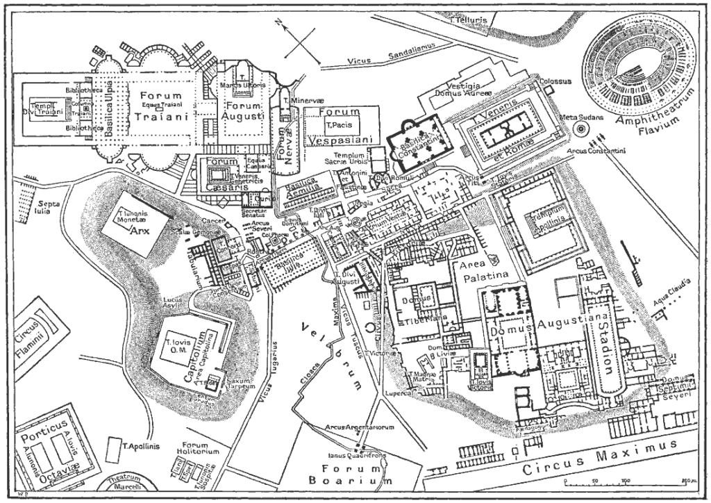 Map of downtown Rome during the Roman Empire large